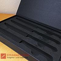 Makami Olive Deluxe Steakmesser Geschenkverpackung offen