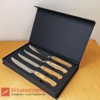 Makami Olive Deluxe Steakmesser Geschenkverpackung offen mit Messern
