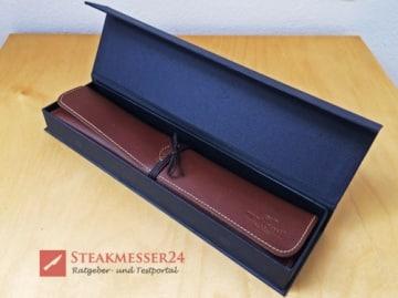 Makami Olive Deluxe Steakmesser Lederetui in Box