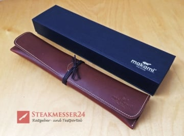Makami Olive Deluxe Steakmesser Lederetui mit Box