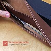 Makami Olive Deluxe Steakmesser Lederetui offen mit Messern