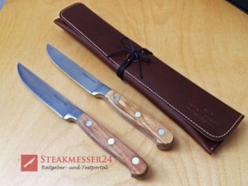 Makami Olive Deluxe Steakmesser mit Lederetui